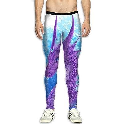 GFGRFDD Purple Dragon Printed Yoga Pants Men Anti-Sweat Bodybuilding Sport Skull Leggings Quick Drying