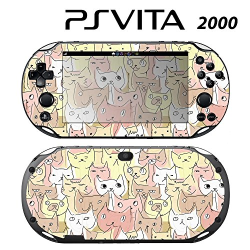 Skin Decal Cover Sticker for Sony PlayStation PS Vita Slim (PCH-2000) - Kitty Cat Pattern -  Decals Plus, PV2-PA14