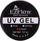 New Ez Flow Nail Builder Gel Nail Art UV Gel Builder Tips Glue, (Clear 15ml)