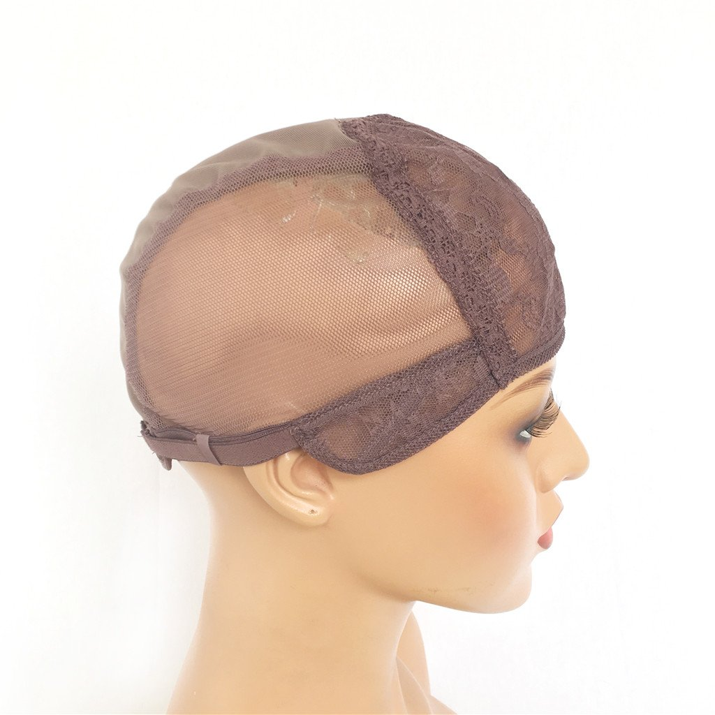 XRS Hair Wig Caps for Making Wig with Adjustable Sturdy Straps Swiss Lace Medium Brown Color Foundation Wigs Cap(Medium Size) by XRS Hair Wig (Image #4)
