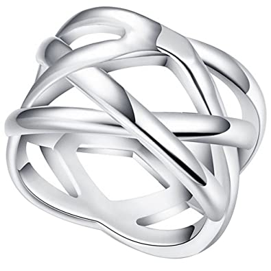 1adc6a22e39a LWLH Jewelry Womens 925 Sterling Silver Plated Weave Double  quot X quot   Criss Cross Eternity