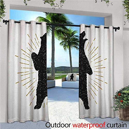 erior/Outside Curtains Sketch of Tribal Icon with Roaring Grizzly Bear and Sunburst Effect Vintage Wildlife for Patio Light Block Heat Out Water Proof Drape W84 x L108 Black White ()
