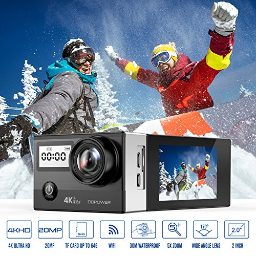 619pwhzT3WL - DBPOWER N5 Pro WiFi Action Camera 4K Ultra HD 20MP Sports Camera 30m Underwater Waterproof 170 Degree Adjustable Wide Angle Lens Camcorder with 2 Rechargeable Batteries and Mounting Accessories Kit