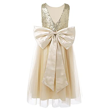 Ygosoon New Little Flower Girls Dresses for Weddings Baby Formal Party Sequined Bow Dress Kids Prom