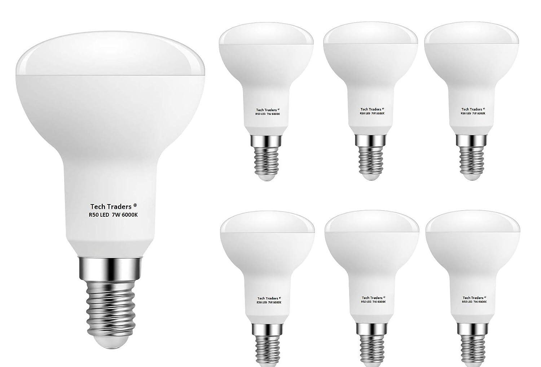 Bombillas LED reflectoras R50 E14, 7 W, luz blanca cálida, de Tech Traders, paquete de 6 unidades: Amazon.es: Iluminación