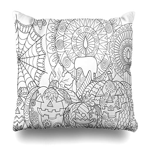 KJONG Halloween Pumpkin Book Zippered Pillow Cover,18 x 18 inch Square Decorative Throw Pillow Case Fashion Style Cushion Covers(Two Sides Print)