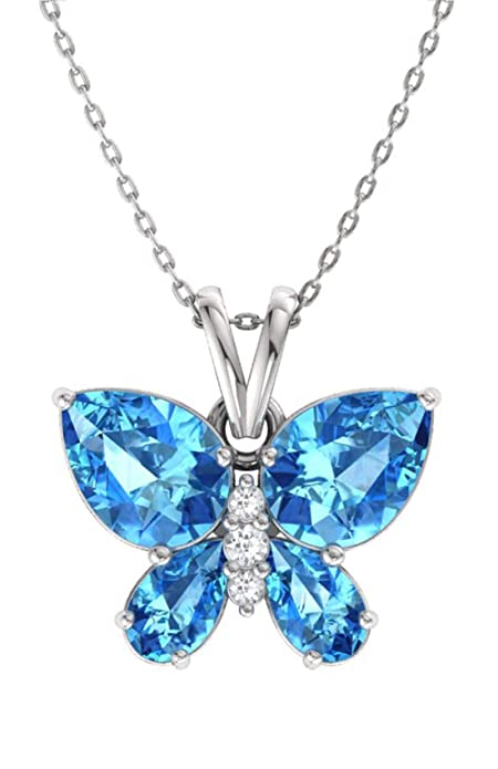 Diamondere Natural And Certified Gemstone And Diamond Butterfly Necklace In 14k White Gold | 1.04 Carat Pendant With Chain by Diamondere