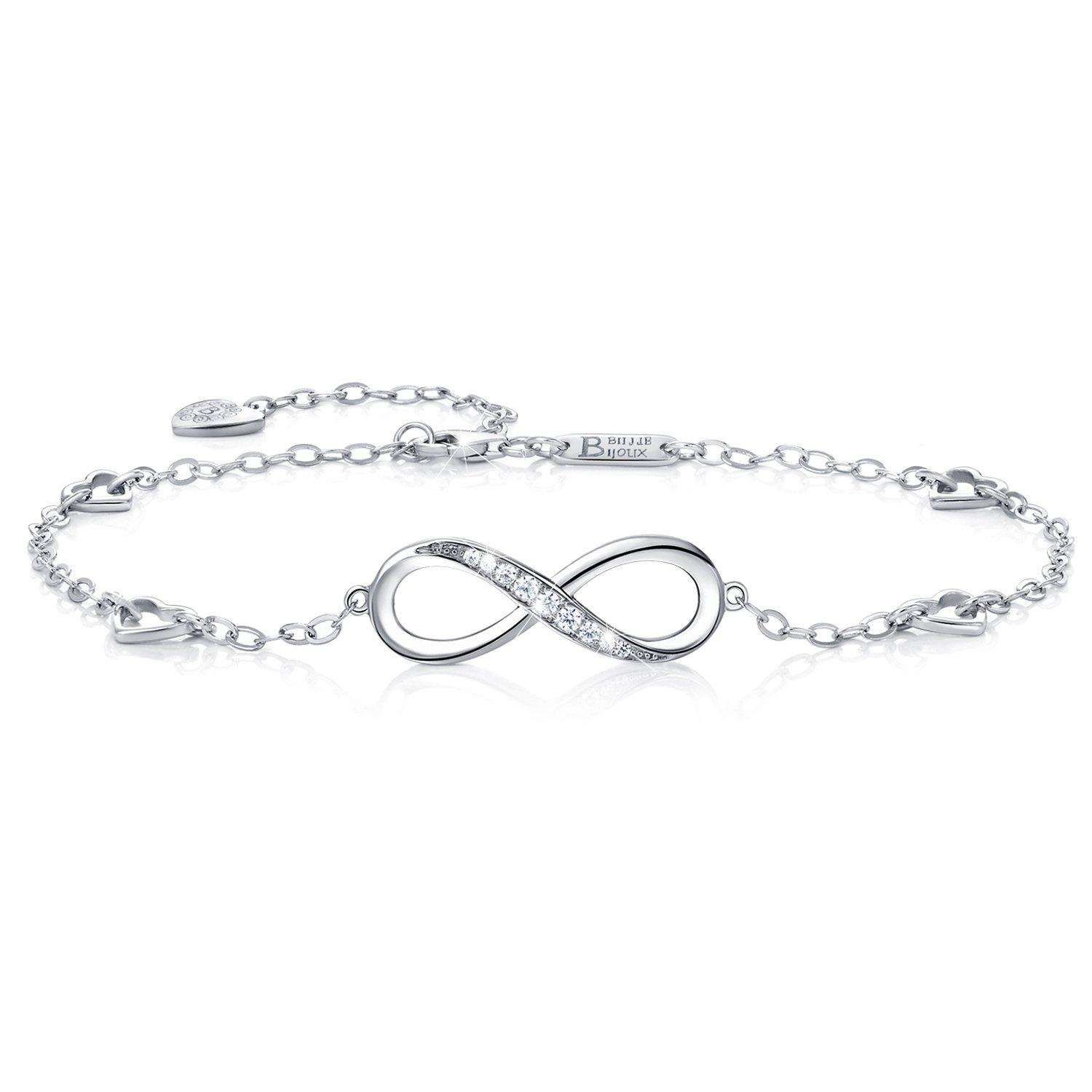 Gift for Christmas Day Womens 925 Sterling Silver Infinity Endless Love Symbol Charm Adjustable Anklet Bracelet, large bracelet- Billie Bijoux BBB004