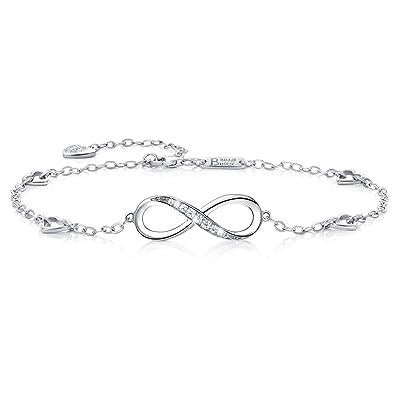 Bracelet infini en argent pour cheville ou poignet réglable pour Femme