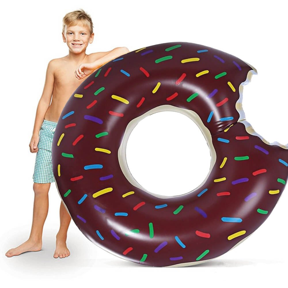 ixaer Donut Inflatable Pool, Funny Swimming Pool Floats/ Summer Water Sport Inflatable Pool Toys.(chocolate)