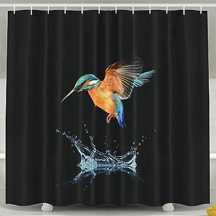 Wallpaper Blue Tailed Hummingbird Shower Curtain Repellent Fabric Mildew Resistant Machine Washable Bathroom Anti