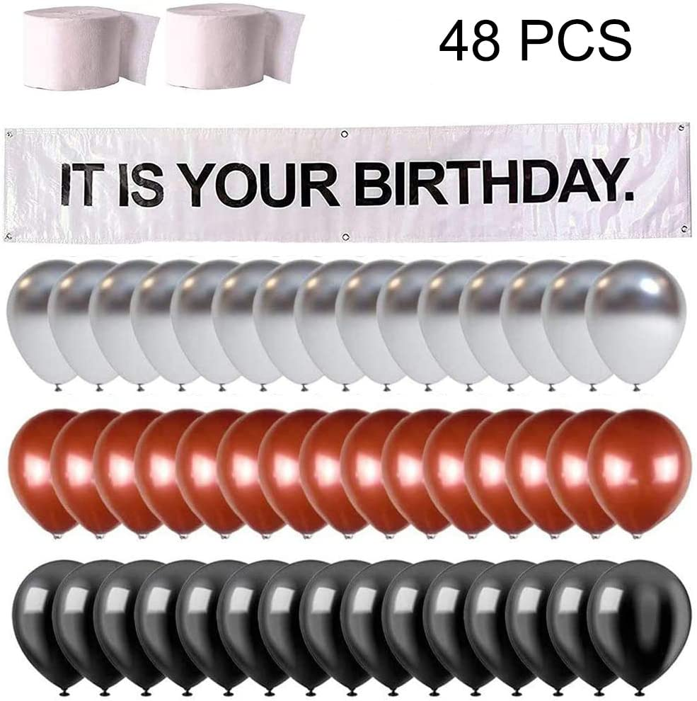 It is Your Birthday Banner,48 PC Set The Office Dwight Theme Infamous Husband Birthday Party Decorations,Brown Black Gray Balloons,White Crepe Streamers Roll by Dwight K. Schrute