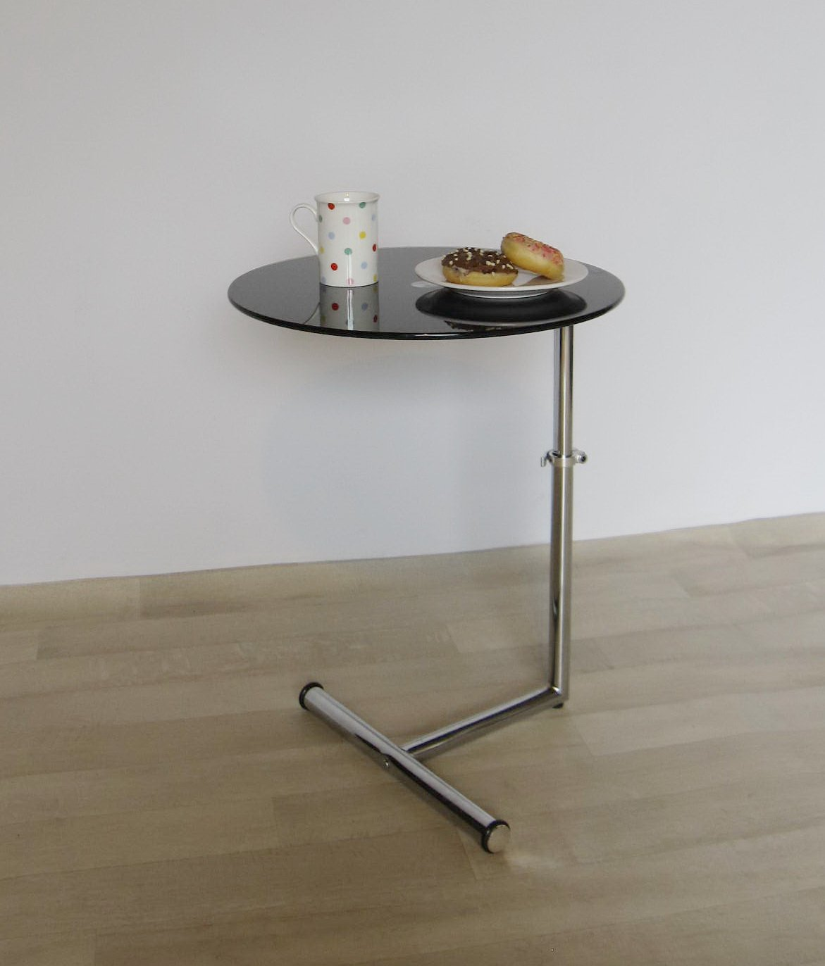 ASPECT Black Glass Side/End/Laptop/Coffee Table Zen Adjustable Round Table,  Metal: Amazon.co.uk: Kitchen U0026 Home
