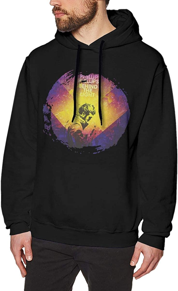 ChaseM Mens Phillip Phillips Behind The Light Hoodies Sweatshirt Black
