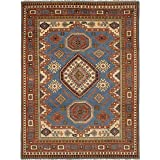 "Ecarpetgallery ECG1-266086 Hand-knotted Royal Kazak Geometric 8'6"" x 11'10"" Blue 100% Wool area rug"