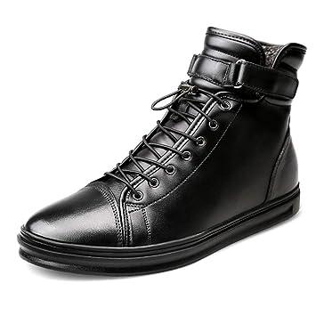 HILOTU Botines de Moda con Cordones para Hombre Botas de Vestir de Tobillo Clásic Trabajo Combate Cazador (Color : Warm Black, tamaño : 45 EU): Amazon.es: ...