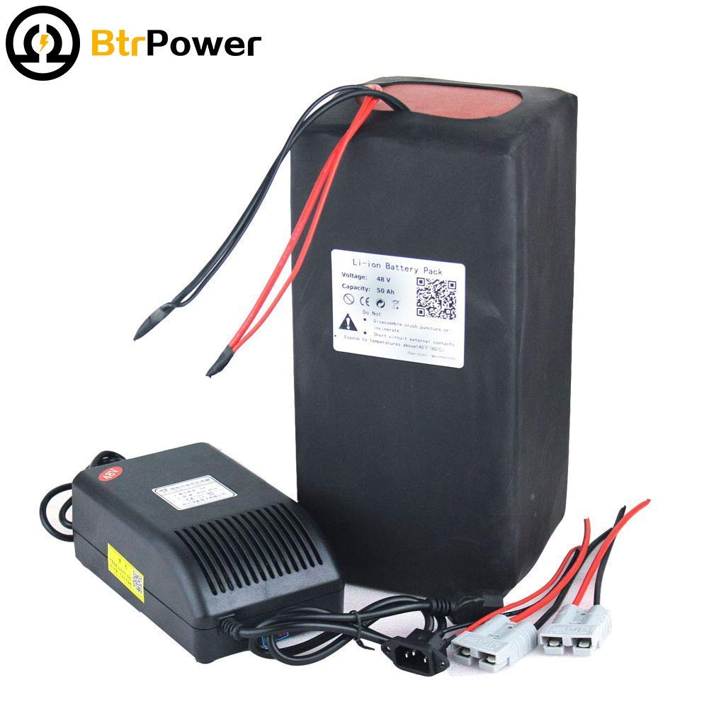 BTR Portable 48V 10ah/15ah/20ah/28ah/30ah/40ah/50ah Ebike Lithium Battery Pack with A Battery Charger,BMS for Electric Bicycle (48V 50Ah)