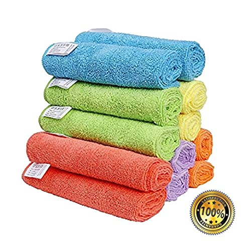 NEW Microfiber Cleaning Cloths Best Kitchen Dish Cloths with Poly Scour Side, 6 Colors - 6 pieces (Wedgewood Pendant)