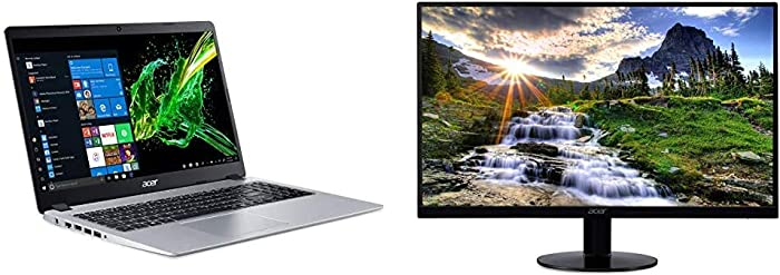 Acer Aspire 5 Slim Laptop, 15.6 inches Full HD IPS Display, A515-43-R19L,Silver & SB220Q bi 21.5 inches Full HD (1920 x 1080) IPS Ultra-Thin Zero Frame Monitor (HDMI & VGA Port),Black