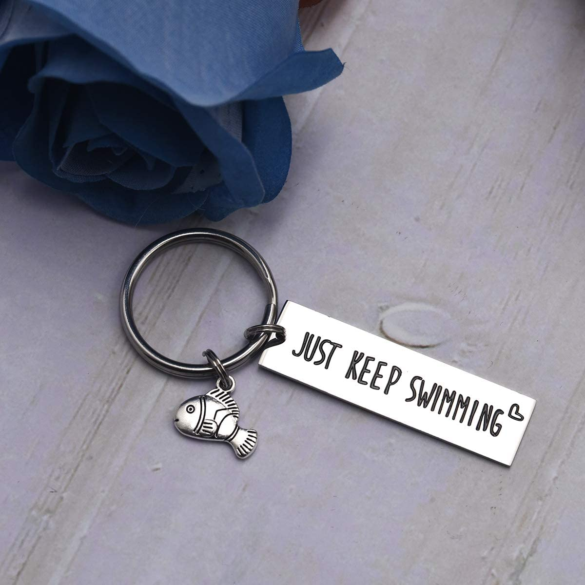 LParkin Keep Fucking Going Keychain Just Keep Swimming Key Chain Adult Encouragement Gift Best Friend Keep Going Key Ring