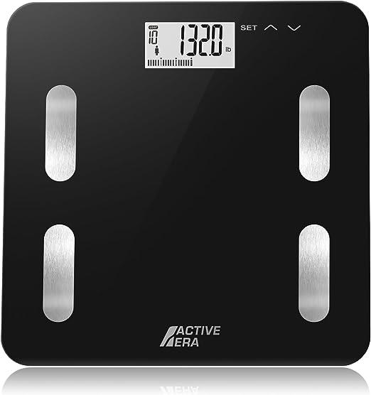 Active Era Ultra Slim Body Fat Bathroom Scale With Bf Bmi Bone Mass Water