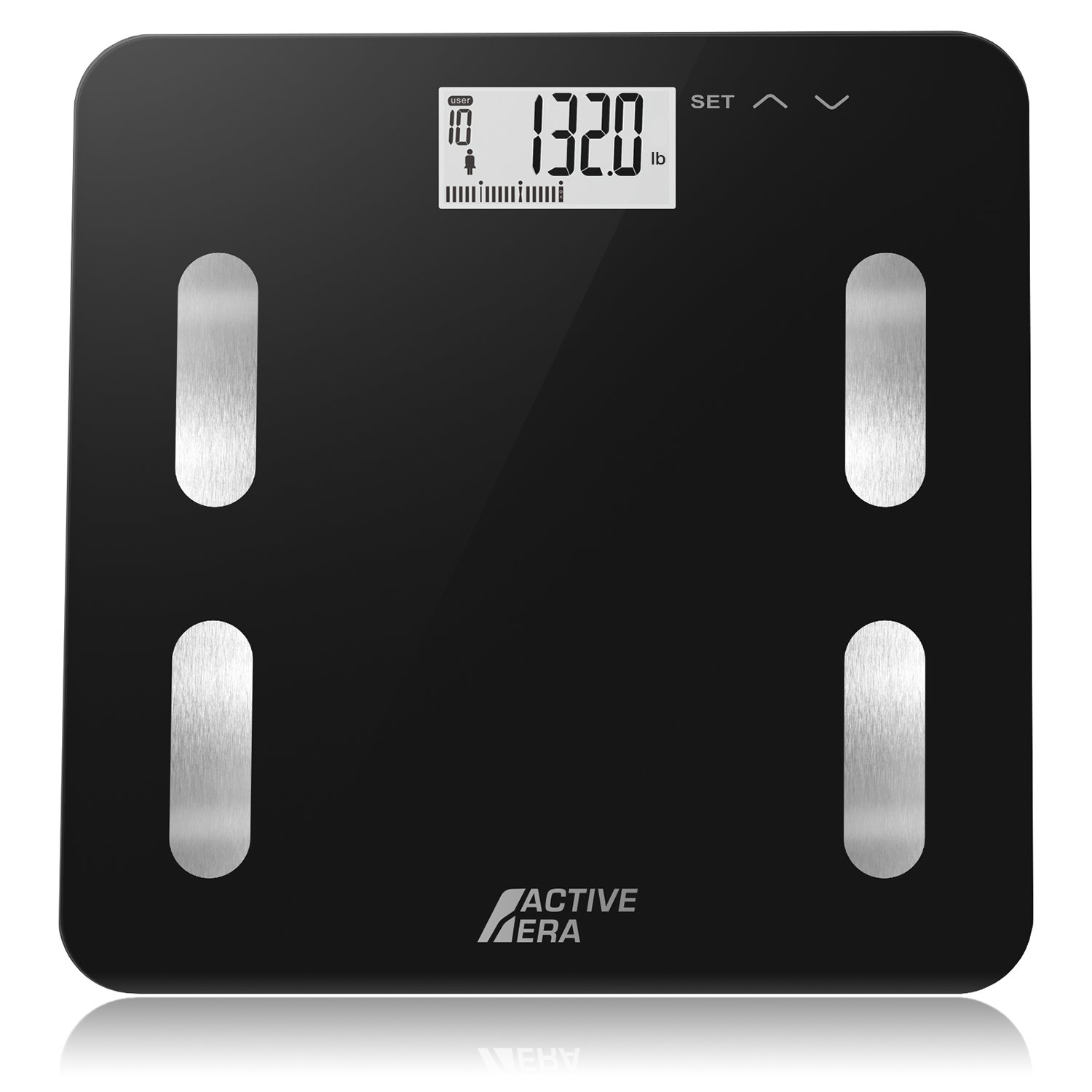 Active Era Digital Body Weight Bathroom Scale - Body Fat Analyzer with BF%, BMI, Age, Weight & Height | Made from Ultra Strong Tempered Glass with LCD Display and Auto On/Off (Black)