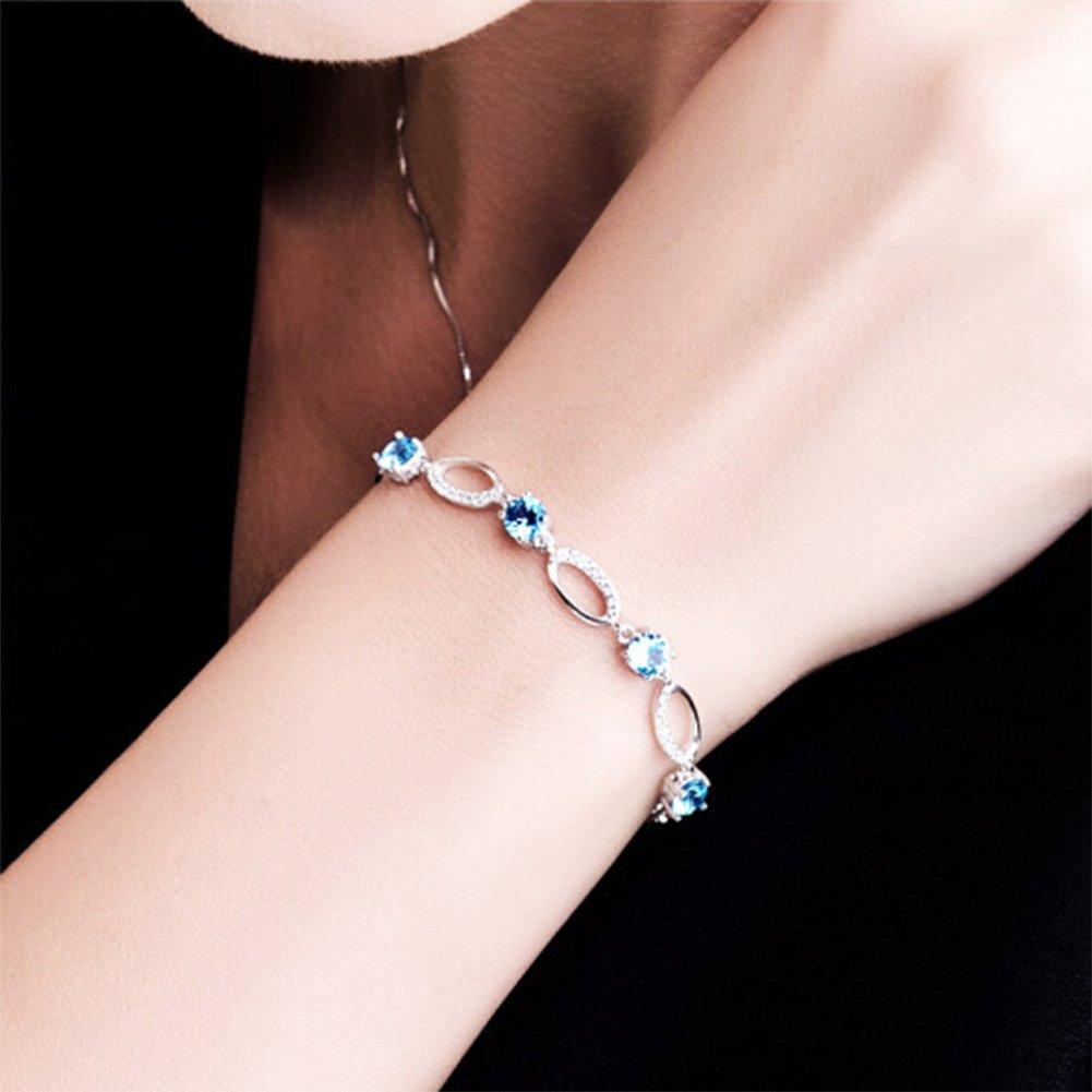 GEEZII Adjustable Charm Bracelets /& Bangles blue Cubic Zirconia Silver Jewelry Gift Angel Eyes