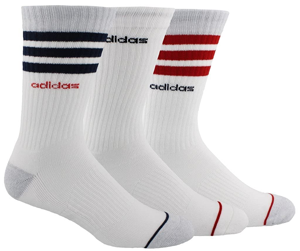 adidas Mens 3-Stripe Crew Socks 3 Pairs
