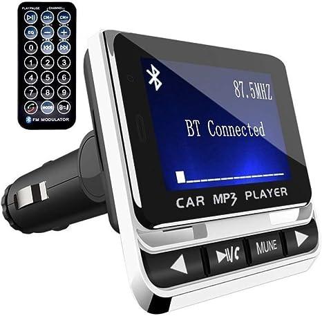 Transmisor FM Bluetooth mejorado para coche, interruptor de apagado, reproductor de música compatible con unidad flash USB/entrada micro tarjeta/AUX, transmisor de radio inalámbrico con pantalla de 1,3 pulgadas, color negro: Amazon.es: Electrónica