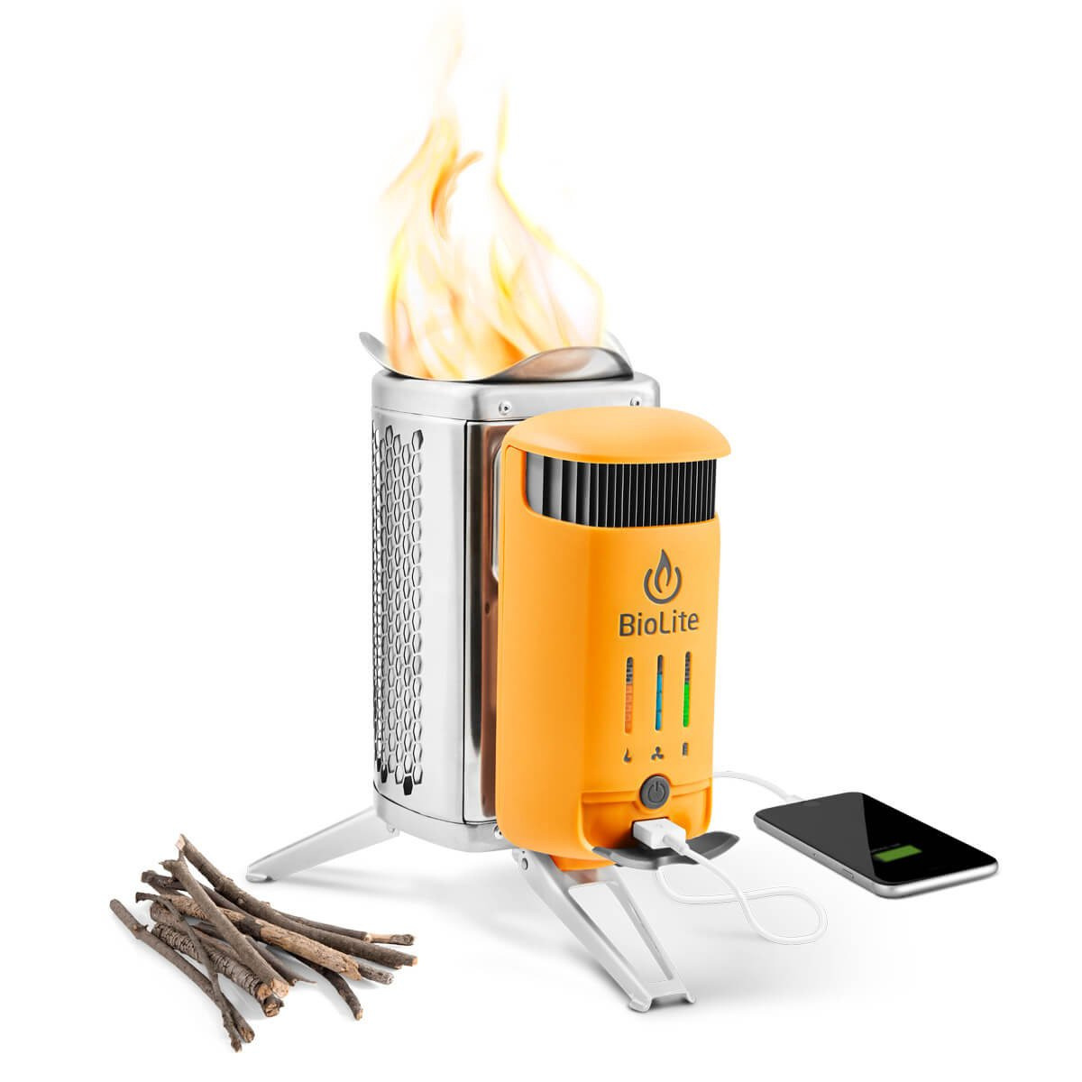 BioLite CampStove 2- Wood-Burning Small Lightweight Stove, USB FlexLight, Fire Starter, Generates 3W of Electricity for USB Charging Using Excess Heat, 5 x 5 x 8.3 Inches, Silver/Yellow (CSC1001) by BioLite (Image #1)
