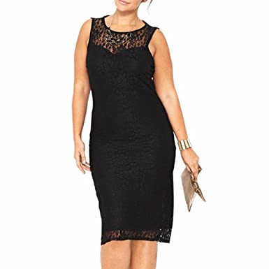 Samtree Womens Lace Plus Size Sleeveless Hollow Out Bodycon Cocktail Party Sheath Dress (UK 18