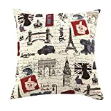 Multi-sized Eiffel Tower Printing Cushion Cover LivebyCare Linen Cotton Cover Throw Pillow Case Sham Pattern Zipper Pillowslip Pillowcase For Living Room Sofa Couch Chair Back Seat