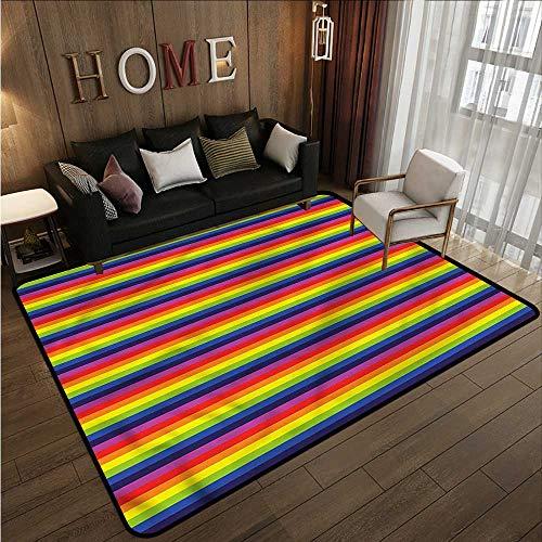 Skid-Resistant Rug Rainbow Horizontal Stripes Pattern Children Crawling Bedroom Rug 4'11