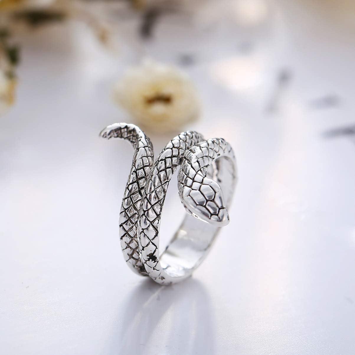 N. /° 9 Happyyami Anillos de Serpiente Anillos de Animales de Moda Anillos de Joyer/ía Vintage Ajustables para Hombres Mujeres