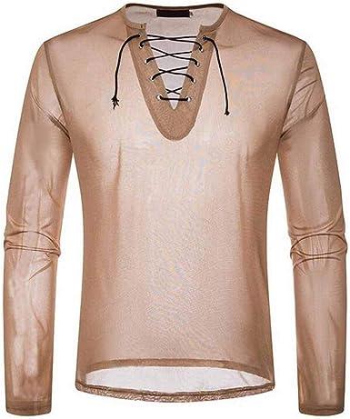 Huateng Camiseta Casual de Manga Larga de Malla Transparente para Hombre Elegante con Cordones con Cuello en V Ligera Clubwear Jersey: Amazon.es: Ropa y accesorios