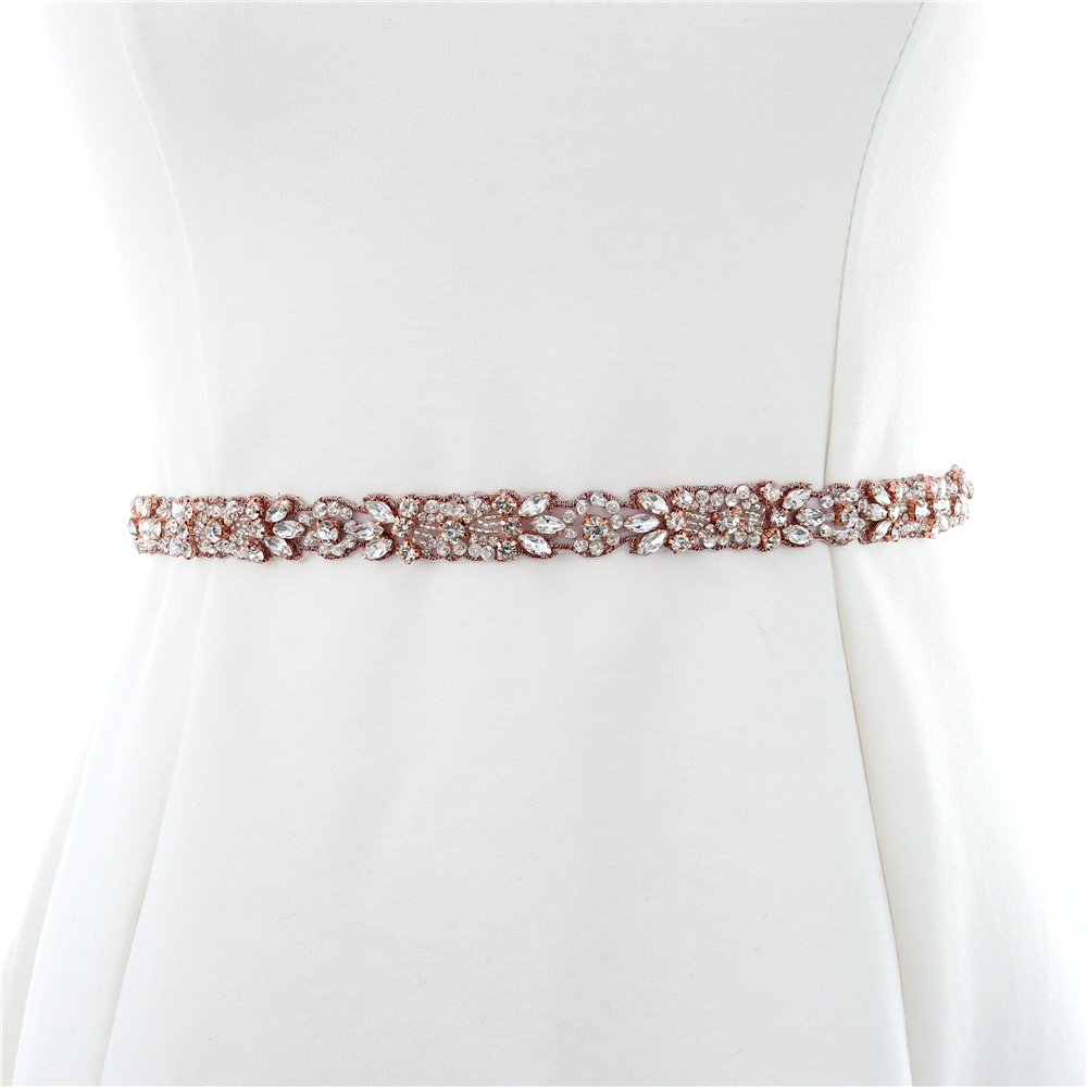 Rose Gold Wedding Crystal Sash Applique Sew Iron on Rhinestone Bridal Dress Belt Applique Sparkly for Bridesmaid Gown Women Prom Formal Dress Clothes Embellishments