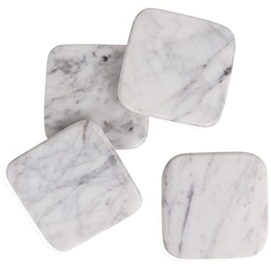 HomeCosmo Simply-White Oval Marble Coasters for Drinks (Set of 4) Smooth Sides, 100% Natural Stone Coasters Set, Hand-cut by Artisans, Protect Furniture from Water Marks Scratch and Damage