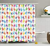 "kids bathroom ideas Ambesonne Colorful Shower Curtain, Human Handprint Kids Watercolor Paint Effect Open Palms Collage Art Work Print, Cloth Fabric Bathroom Decor Set with Hooks, 70"" Long, Multicolor"