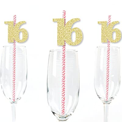 Gold Glitter 16 Party Straws - No-Mess Real Gold Glitter Cut-Out Numbers & Decorative 16th Birthday Party Paper Straws - Set of 24: Toys & Games