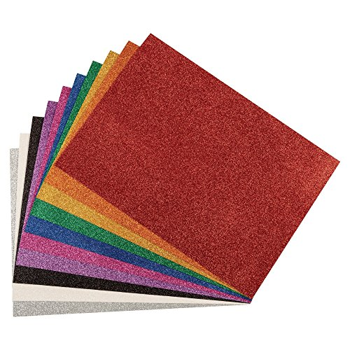 WonderFoam Glitter Sheets, 11-7/10 x 16-1/2 Inches, Assorted Colors, Set of 10