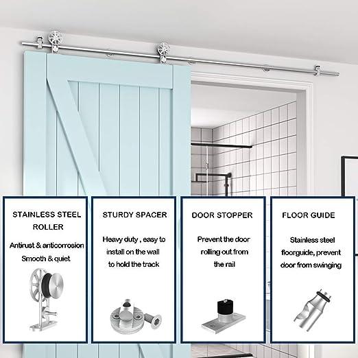 YEFUUK 5FT / 1.5M Kit de armario de hardware de puerta de granero deslizante de acero inoxidable para puerta simple, suave y silenciosamente: Amazon.es: Bricolaje y herramientas