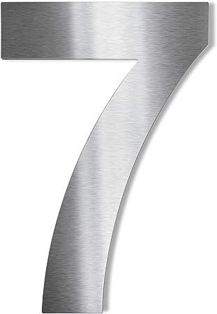Hochwertige Edelstahl V2A Hausnummerklassisch grob geschliffen inkl H/öhe: 140mm - Materialst/ärke: 2mm, 3 Befestigung
