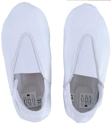 f6ba1faf3a220f KK Children Boys Girls Real Leather Full Sole Flats Ballet Dance Slippers  Gym Shoes (UK