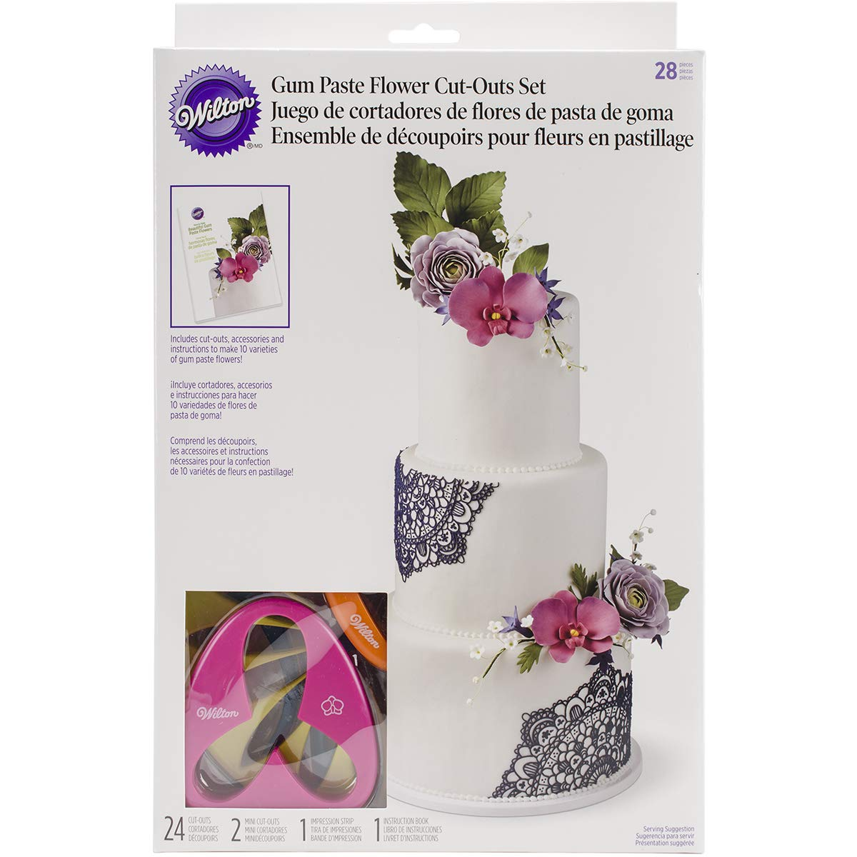 Wilton 2109-7987 Gum Paste Outs Piece 28 PC GP FLOWERS CUT OUT SET