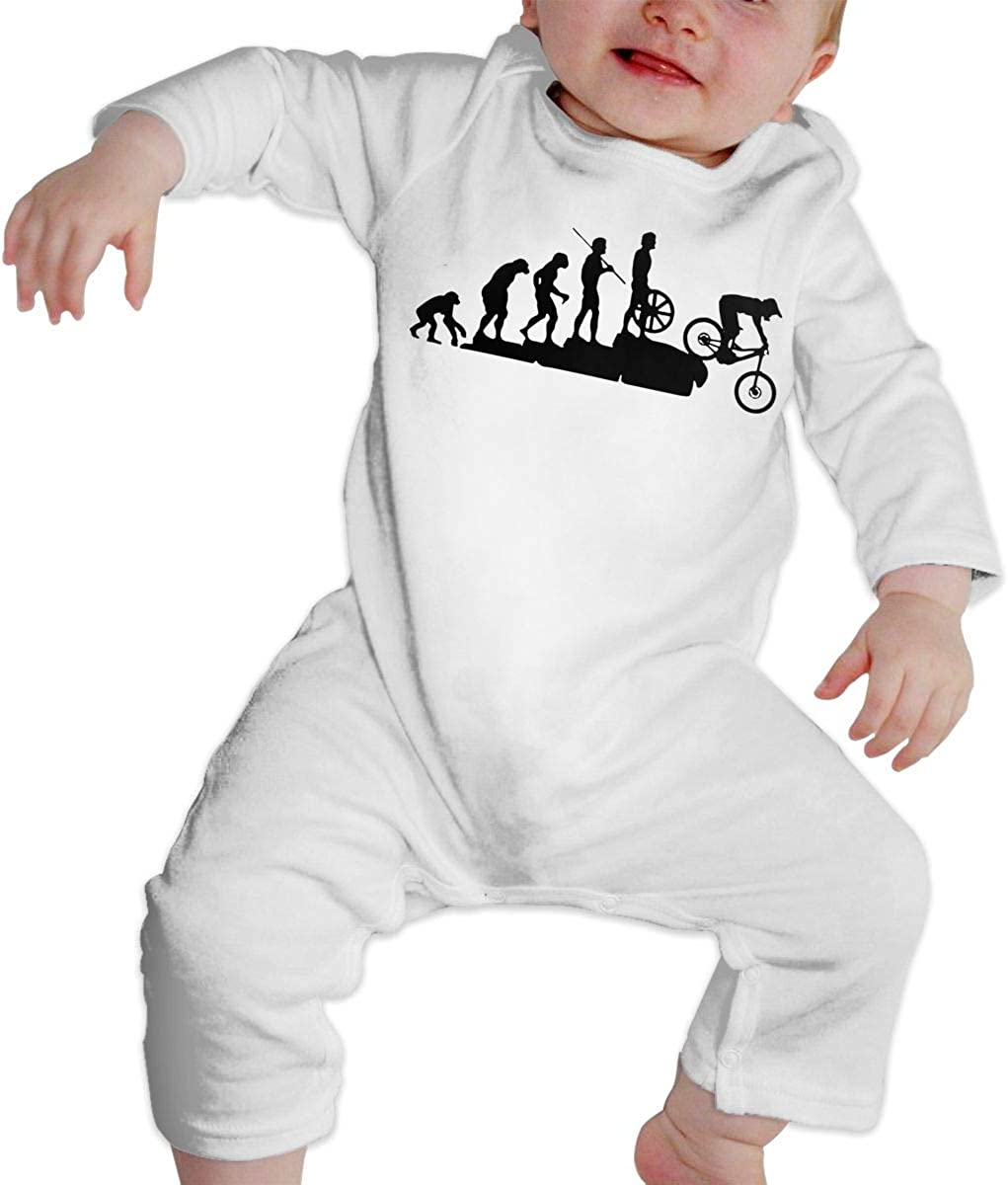YELTY6F Interesting Mountain Bike Downhill Car Printed Baby One-Piece Suit Long Sleeve Pajamas White