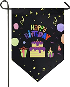 Oarencol Happy Birthday Garden Flag Cake Candy Gift Colorful Balloon Double Sided Home Yard Decor Banner Outdoor 12.5 x 18 Inch