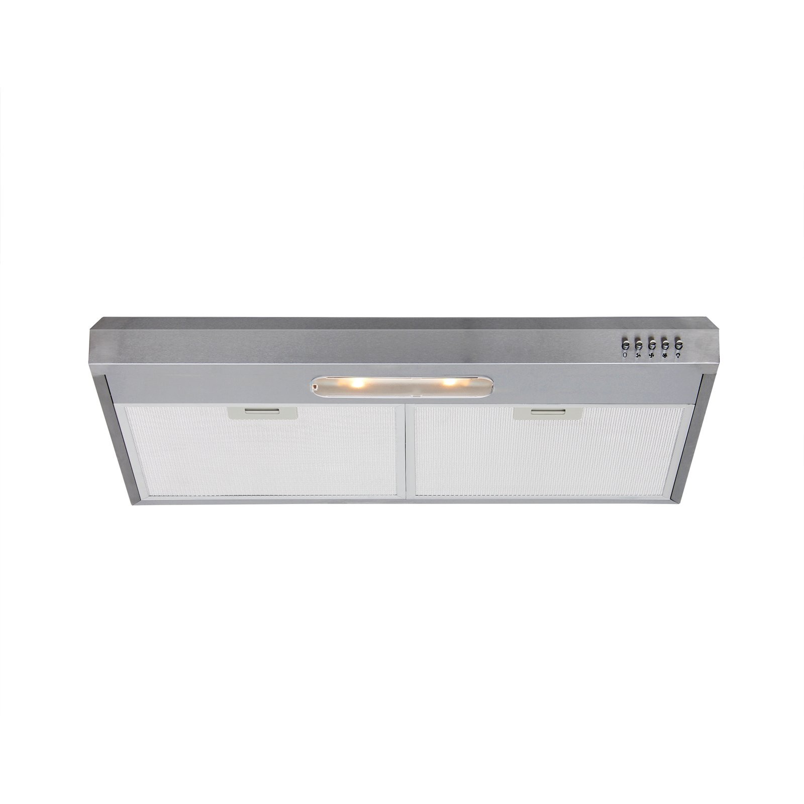 Bourkeliving 30 Inch Under Cabinet Range Hood Stainless Steel Ultra thin 3 Speeds Push Control Recycling or Outdoor Exhausting Mode Kitchen Vent Fan DPL-00104E-75