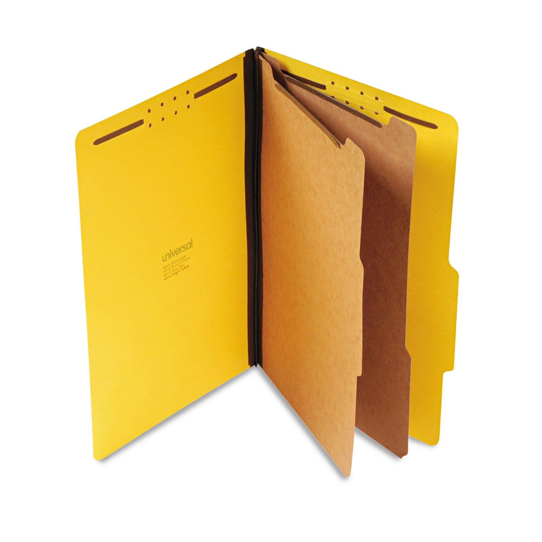 Universal Pressboard Classification Folders, Legal, Six-Section, Yellow, 10/Box by Universal