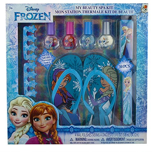 Townley Girl Disney Frozen My Beauty Spa Set, Nail Polish, Buffer, File, Sandals (Girls 10-11) and Toe Separators (Frozen Set)