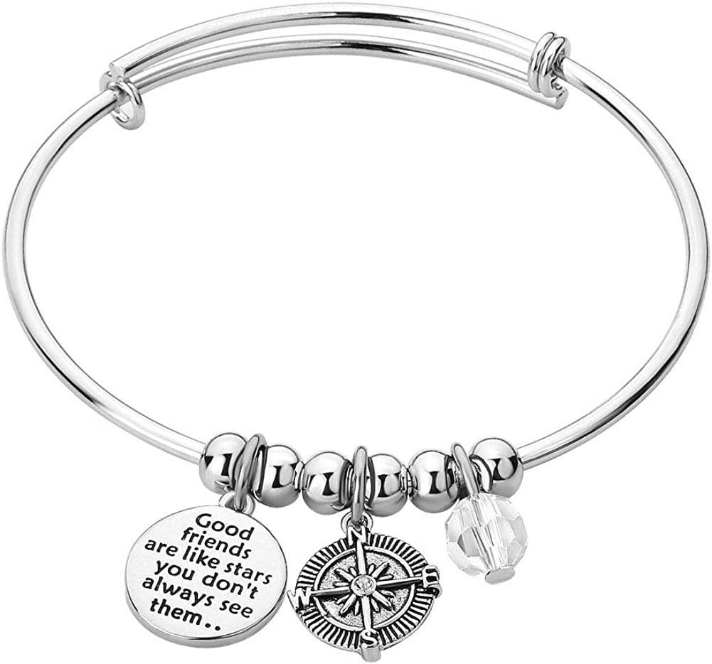 CLY Jewelry Engraved Best Friend Crystal Charm Matching Friendship Expandable Bangle Bracelet